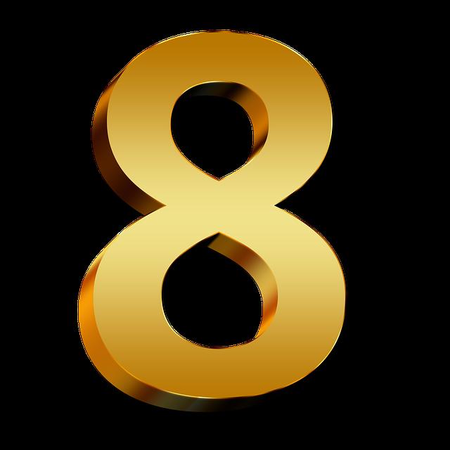 jednoduchá zlatá číslice 8