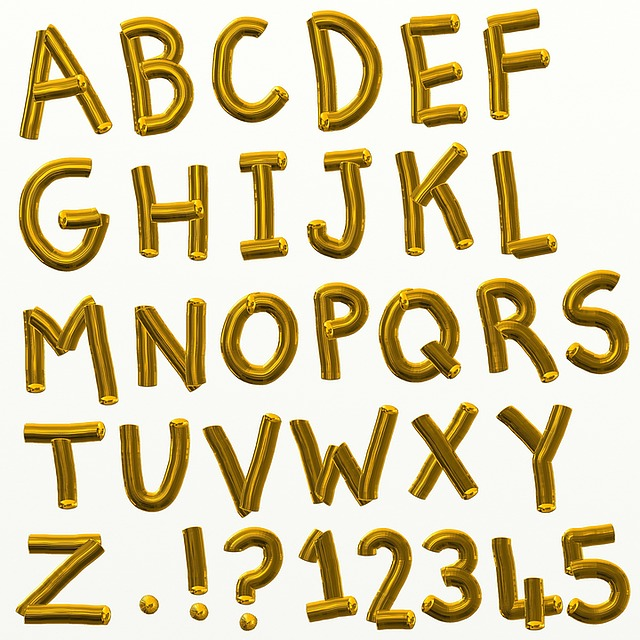 zlatá abeceda a čísla